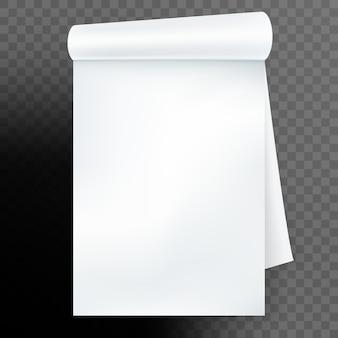 Cahier avec page roulée sur fond transparent. et comprend également