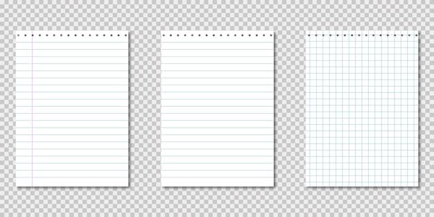 Cahier en papier. modèle réaliste avec cahier de papier sur transparent