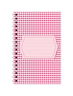 Cahier papier spirale rose avec étiquette