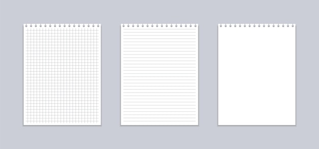 Cahier réaliste avec feuilles quadrillées et lignes.