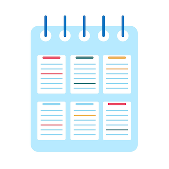 Cahier à spirale isolé sur fond blanc. cahier d'école. journal pour les affaires. illustration vectorielle design plat