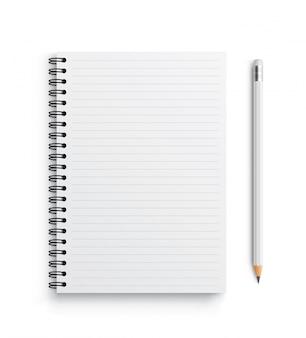 Cahier de vecteur réaliste et crayon blanc.