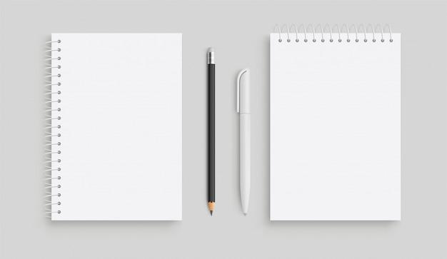 Cahier de vecteur réaliste et pancil blanc, stylo. vue de face.