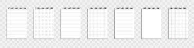 Cahier vierge ou organisateur. ensemble de modèles de feuilles de papier cahier. illustration vectorielle