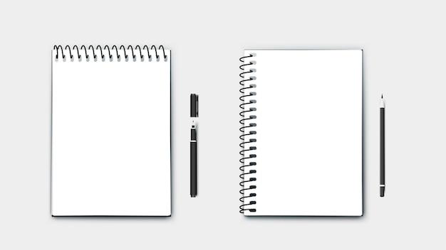 Cahiers de format a4 papier parfait réaliste, horizontaux et verticaux avec stylo et crayon. isolé sur fond bleu illustration moderne.