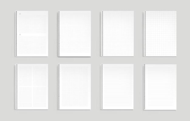 Cahiers avec des lignes, des points et une grille carrée.
