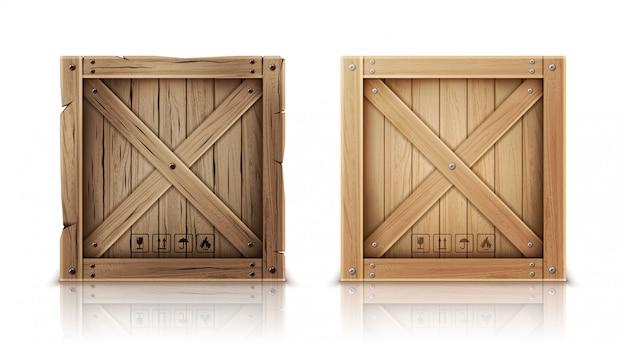 Caisse en bois neuve et âgée réaliste