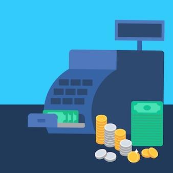 Caisse enregistreuse et argent