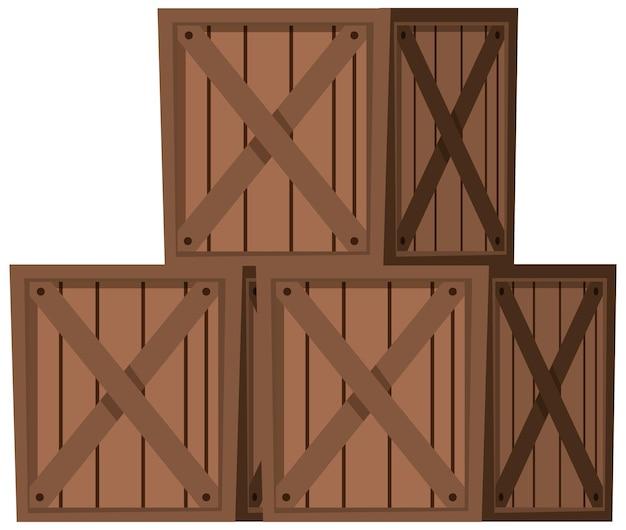 Caisses en bois sur fond blanc
