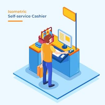 Caissier libre service isométrique