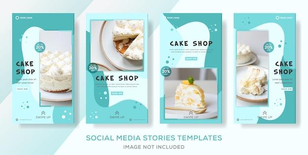 Cake shop set résumé de modèle d'histoires de bannière.