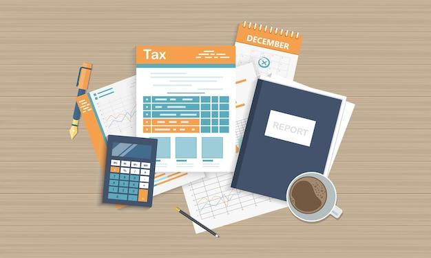 Calcul de la fiscalité du gouvernement de l'état de la déclaration de revenus