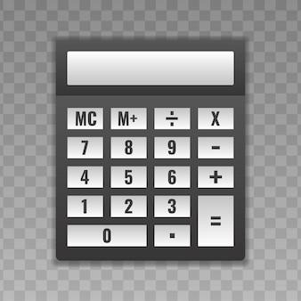 Calculatrice avec boutons blancs.