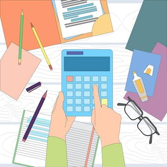 Calculatrice business man main bureau bureau comptable