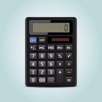 Calculatrice électronique isolée sur bleu