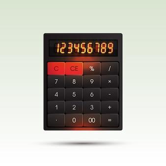 Calculatrice sur fond clair avec des chiffres lumineux orange.