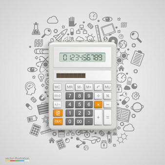 Calculatrice avec des icônes en arrière-plan. illustration vectorielle