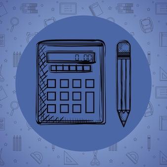 Calculatrice mathématique avec dessin au crayon