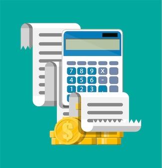 Calculatrice, paiement de facture de reçu papier, pile de pièces d'or. documents d'état des rapports financiers. comptabilité, tenue de livres, audit, révision des calculs débit-crédit. style plat d'illustration vectorielle