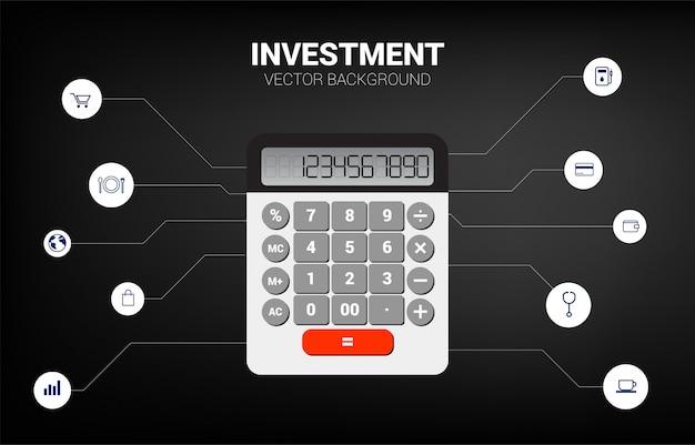 Calculatrice vectorielle avec éléments fonctionnels. concept pour les informations commerciales et la comptabilité