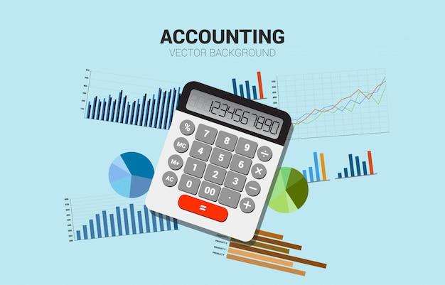 Calculatrice vectorielle avec graphique multiple. concept pour les informations commerciales et la comptabilité