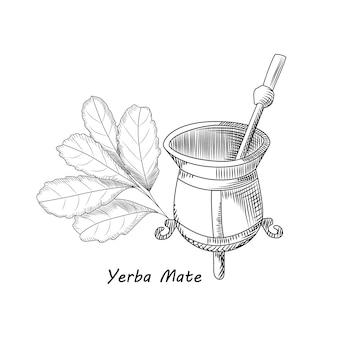 Calebasse et bombille pour boire du yerba mate.