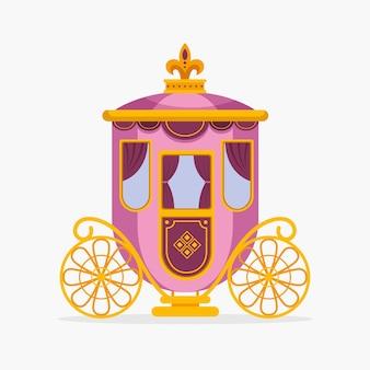 Calèche de conte de fées avec roues dorées