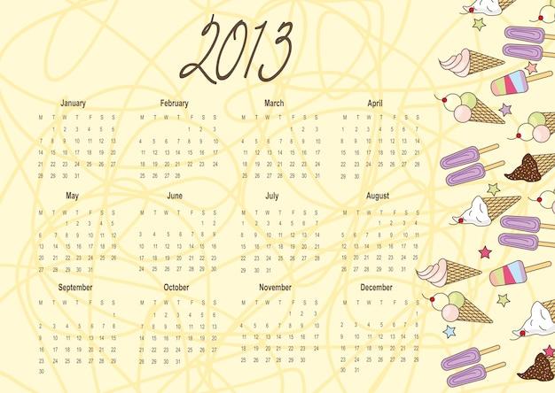 Calendrier 2013 avec jolie crème glacée sur vecteur fond jaune