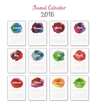 Calendrier 2018 design aquarelle