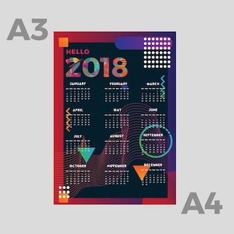 Calendrier 2018, design plat et moderne