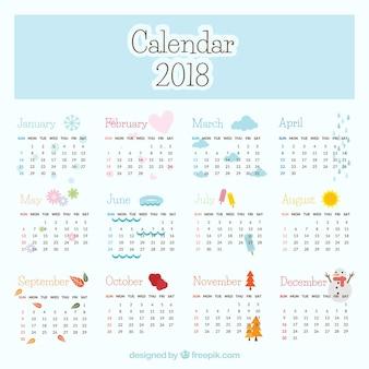 Calendrier 2018 avec éléments