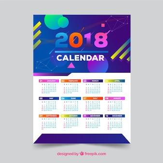 Calendrier 2018 avec des formes abstraites