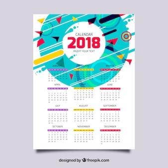 Calendrier 2018 avec des formes géométriques