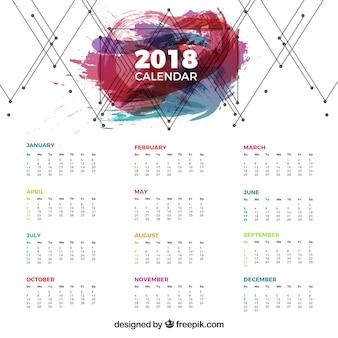 Calendrier 2018 avec lignes géométriques et taches colorées