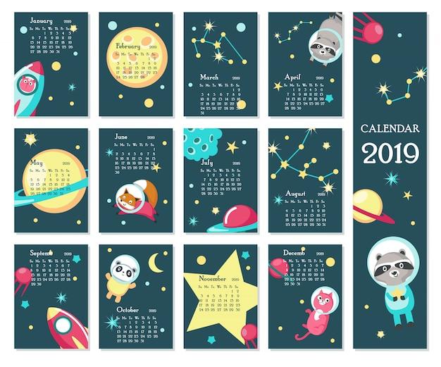 Calendrier 2019 avec animaux de l'espace