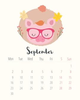 Calendrier 2019. cochon mignon. mois de septembre.