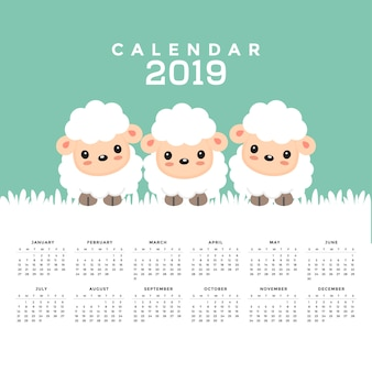 Calendrier 2019 avec dessin animé mignon de mouton. illustration vectorielle dessinés à la main