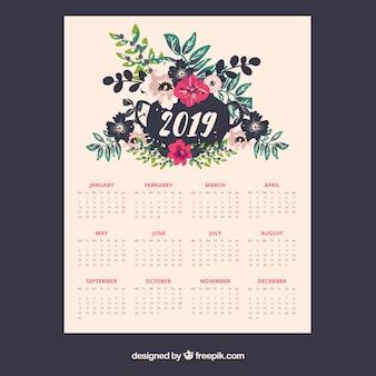 Calendrier 2019 avec des éléments floraux