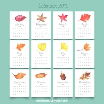 Calendrier 2019 avec des feuilles d'automne