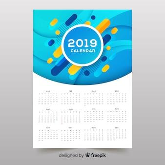 Calendrier 2019 de formes abstraites colorées