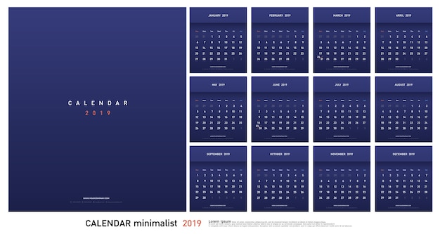 Calendrier 2019 gradient tendance style minimaliste