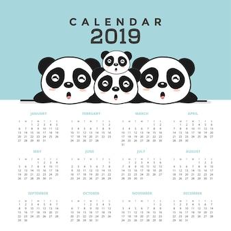 Calendrier 2019 avec de jolis pandas. illustration vectorielle dessinés à la main