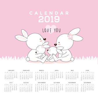 Calendrier 2019 avec des lapins mignons. illustration vectorielle dessinés à la main