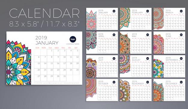 Calendrier 2019 avec des mandalas
