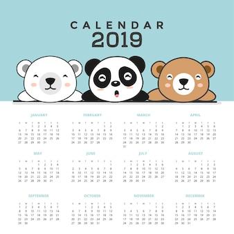 Calendrier 2019 avec des ours mignons. illustration vectorielle dessinés à la main