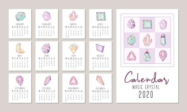 Calendrier 2020 avec des cristaux ou des gemmes, des bijoux en diamants et des pierres précieuses