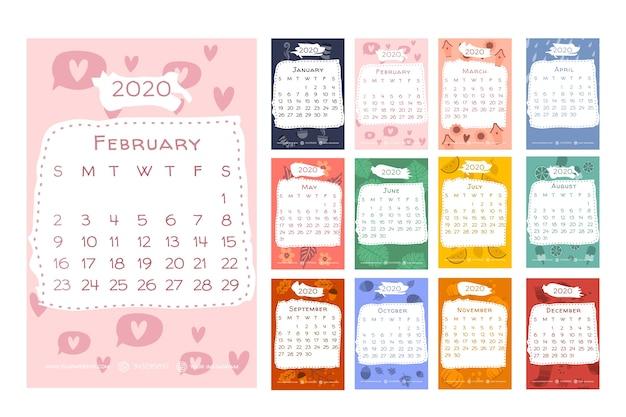 Calendrier 2020 avec éléments saisonniers
