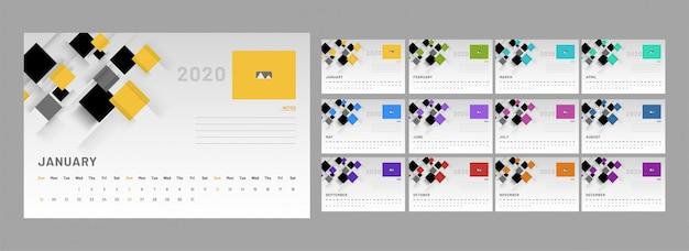 Calendrier 2020, ensemble de 12 mois de mise en page avec des éléments abstraits