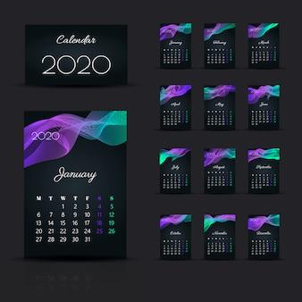 Calendrier 2020. modèle de conception de début de semaine dimanche.