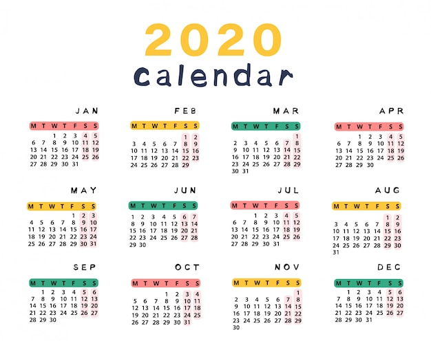 Calendrier 2020 prêt à imprimer